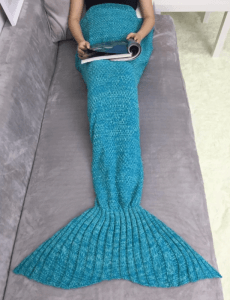 2. Acrylic Knitting Mermaid Tail Sofa Blanket