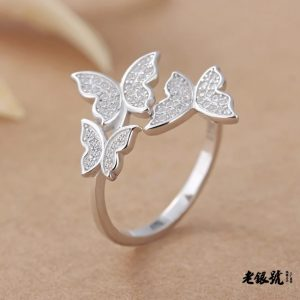 6. 925 Sterling Silver Pinky Butterfly Ring