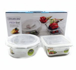 8. Home Basics Silicate Glass 4-Piece Food Container Set