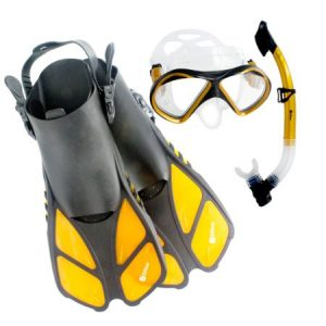 2. Siliber 3Pcs Junior Kids Snorkel Mask & Fins Set