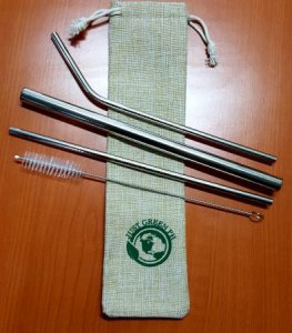 1.Just Green PH / All-in set, Set of 3 Metal Drinking Straws with Free Cleaner and Premium Linen Bag