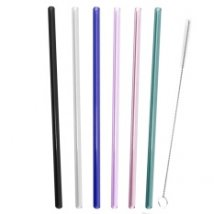 9.6 PCS Assorted Colors Reusable Straight Drinking Glass Straws